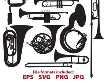 Brass Instruments, trumpet, sousaphone, trombone, bugle, tuba, cornet, french horn, digital, vector, clip art, SVG, Cutting File, Silhouette