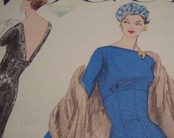 Vintage 1950's Vogue 8993 Dress Sewing Pattern, Size 12, Bust 32