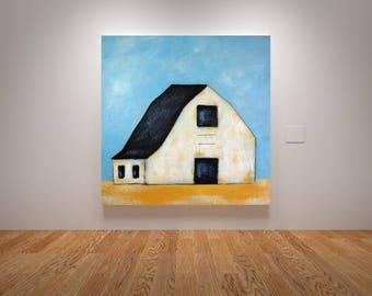 Barn Painting, Farm Painting, Landscape painting, Old Barn, White Barn, Minimalist Barn, Farmhouse Art, Barn Art ** FREE SHIPPING **