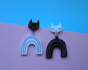 Monochrome Rainbow Cat Earrings - Cat earrings - Rainbow Earrings - Black Cat - Acrylic jewellery - Laser cut jewellery - Cat jewellery -