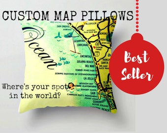 Travel Gift, Wanderlust Gifts, Christmas Gifts for Mom from Son Custom Map Pillow Cover, Husband Gift Map Throw Pillow Decorative Map Pillow