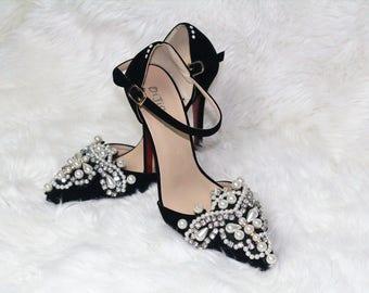 Elegant Pearl Pointy Mary Jane Black Wedding Heels