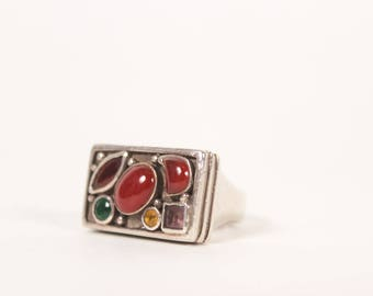 VINTAGE Sterling Silver Gemstone Rectangle Carnelian Stone Statement Ring | Boho Sterling Size 7 Ring | Estate Ring