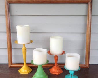 Metal Pillar Candle Holders - Bright Colors Set of 4 Table Top - Cottage Chic Beach Mantel Dining Table Decor - Pop of Color