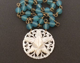 Vintage Mother of Pearl Star Necklace, Turquoise Blue Chalcedony  Gemstone Chain