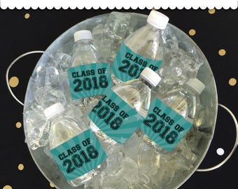 Graduation Bottle Wrappers - Teal & Black Instant Download printable PDF
