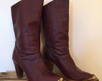 Vintage Oxblood Boots / Size 6 Women's / Dingo Mid Calf Boot