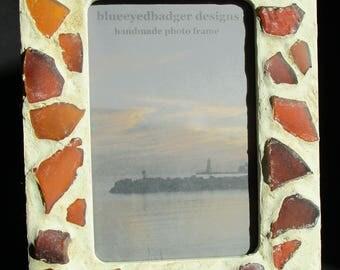 Beach Glass Mosaic Photo Frame, Hand-made Photo Frame, Amber Brown Beach Glass