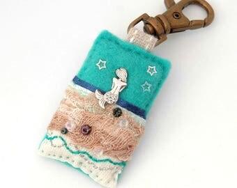 mermaid bag charm, mermaid gifts, beach bag accessories, mermaid shower gift, handbag charm, mermaid theme, silver mermaid, gifts for girls