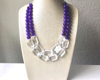 Purple + Crystal Clear Statement Necklace, Agate stone necklace, purple chunky necklace, dark purple bib necklace, dark purple necklace