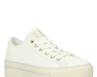 Low Top Converse Platform Heel Leather White Cream Wedding Club Kicks w/ Swarovski Crystal Chuck Taylor Rhinestone Bling All Star Jewel Shoe
