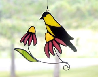 Stained Glass Goldfinch Suncatcher, Bird Sun Catcher, Stained Glass Bird, Glass Art, Wildlife Art, Bird Lovers Gift