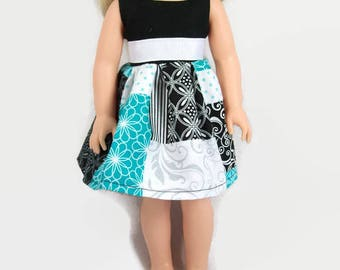 14.5 Inch Doll Clothes - Black, Teal Green, and Gray Dress - Made to Fit Like Wellie Wisher Doll Clothes
