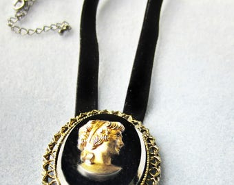 Black and Gold Cameo Necklace, Velvet Cameo, One of a Kind, Ready to Ship
