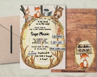 Woodland Animals Wood Slice Baby Shower Invite.Forest Animals Baby Shower