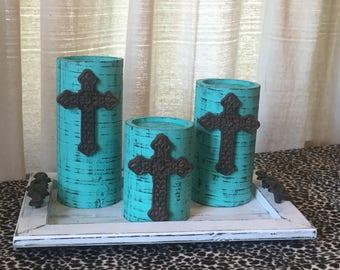 Wooden Candleholders (set of 3)  Aqua with Metal Cross