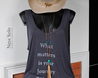Leather tassel necklace Beaded boho necklace Boho jewelry Turquoise pendant necklace Bohemian jewelry boho chic Hippie jewelry by Ness Solo
