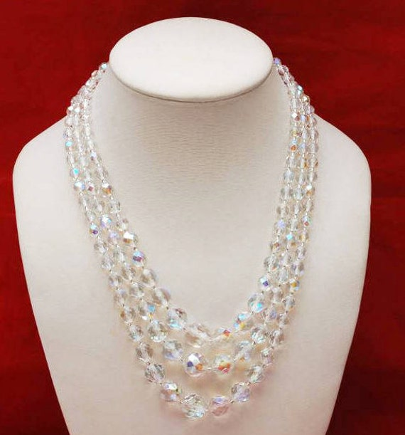 Crystal Bead Necklace - Graduated Triple multi strand  - facet cut crystal glass beads - 17 inches - Aurora borealis Wedding Bride