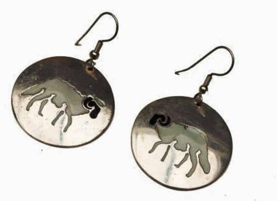Silver  Ram Dangle earrings - Mexico Alpaca - Black white Enamel - figurine earring