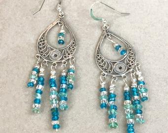 Sterling Silver Filigree Chandelier Earrings with Apatite Gemstone Dangles, Long Feminine Earrings, Boho Earrings, Aqua Blue Gem Earrings