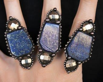 Large Lapis Lazuli and Pyrite Crystal Ring