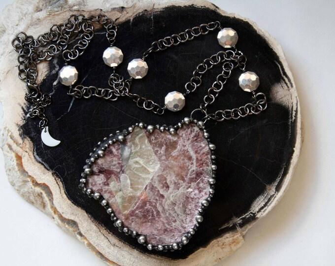 Massive Lepidolite Mica Slab Crystal Necklace
