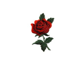 Rose - Gardening - Red ROSE - Love - Valentine's Day - Mother's Day - Garden - Embroidered Iron On Applique Patch
