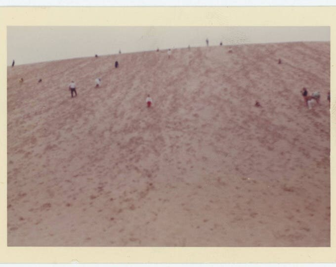 Vintage Snapshot Photo: Figures on Steep Slope, 1962 (79606)