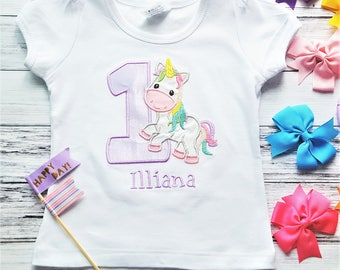 Rainbow Unicorn Birthday Shirt - Unicorn Birthday Party Top - Personalized Unicorn Number Shirt - Unicorn Birthday Theme