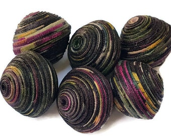 Textile Beads, Fabric Beads, Large and Chunky Beads, Black, Purple, Yellow, White Multi Colored Beads, Diamond Double Bicone Unique Beads