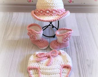 Baby Girl's Cowboy Hat, Boots, and Ruffled Diaper Cover - Newborn to 12 Months - Gift Set - Photo Prop