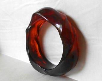 CIJ SALE Vintage Chunky Lucite Bangle Bracelet Dark Honey Rootbeer Twist Bakelite Era MargsMostlyVintage