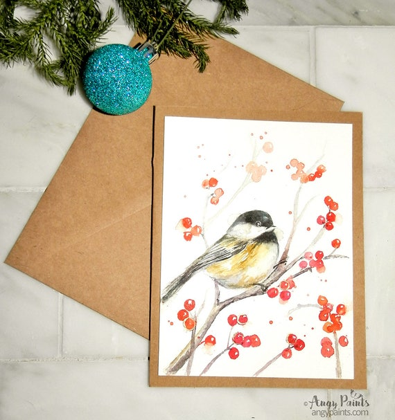 Handpainted Christmas Cards Holiday Watercolor