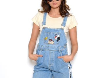Vintage 90's Looney Tunes Overall Shorts Sz S
