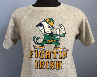 80s Vintage Notre Dame Fightin' Irish University ND fighting ncaa college Sweatshirt T-Shirt - LARGE