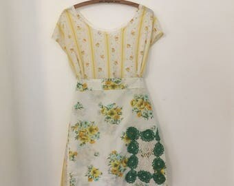 Vintage Style Half Apron with Doily