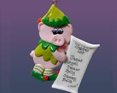 Pig Elf Personalized Ornament