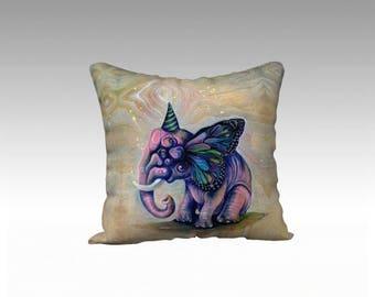 Art Throw Pillow - velveteen pillow, pink elephant, surreal art, home decor, designer pillow, fancy throw pillow, decorative pillow
