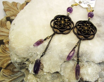 amethyst, sacred geometry jewelry, seed of life, laser cut, mandala, flower of life, laser cut jewelry, wood earrings, phresha