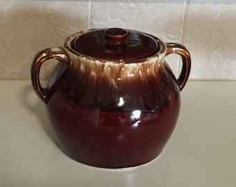 Hull Brown Drip Bean Pot / Vintage Hull Glazed Pottery Bean Pot Cookie Jar Farmhouse Chic