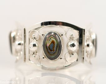 CMB Hecho en Mexico Sterling Silver Vintage Bracelet Mother of Pearl Abalone Shell Wide Statement