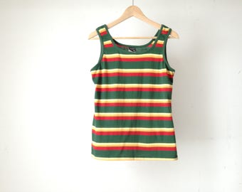 vintage STRIPED forest green and yellow sleeveless tank top club kid Size MEDIUM top