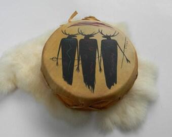 Vintage NATIVE RAWHIDE DRUM Native Hand Drum Deer