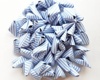 50 large blue stripe paper origami heart love messages - wedding - Free worldwide shipping - wedding favour - summer wedding decor