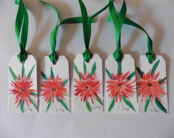Gift Tags, Red Flowers, watercolor floral tags, bookmarks, hand painted, art, paper crafts, miniature paintings, Fine Art Watercolor