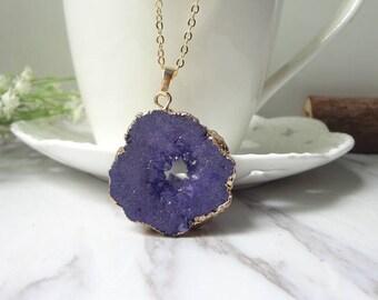 Black Druzy Drusy Crystal Golden Pendant Necklace Gemstone Necklace 0461
