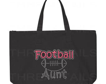 Football Aunt Tote Bag. Glitter Rhinestone tote, carry all.  Bling gift idea for Aunts.  Large black bag, Zipper top.  Embellished bags.