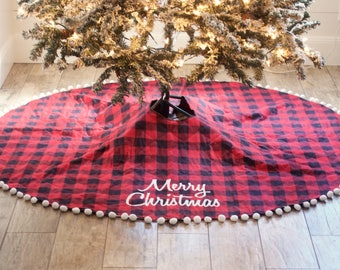Buffalo Plaid Christmas Tree Skirt - Quilted Christmas Tree Skirt - Buffalo Check - Modern Farmhouse Christmas - Personalize Monogram