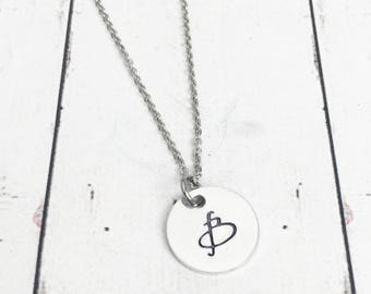 Initial Necklace -Dainty Initial Monogram Necklace - Bridesmaid Necklace -Minimalist Necklace-Monogram Jewelry-Initial Jewelry -Hand Stamped