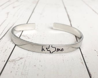 Texas Home Cuff Bracelet - Texas Home Bracelet - Texas Jewelry - Texas Bracelet - Hand Stamped Cuff - Hand Stamped Bracelet